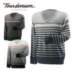 ツアーディビジョン TOUR DIVISION ゴルフウェア  :セーター(メンズ) ボーダーVネックセーター TD220204E13