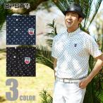 オプスト OPST ゴルフウェア メンズ ドットプリント半袖ボタンダウンポロシャツ OP220101F10
