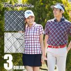 ツアーディビジョン Tour division ゴルフウェア メンズ ミューファンバイアスチェック半袖ポロシャツ TD220101F09