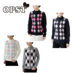 オプスト OPST ゴルフ レディース アーガイルフルジップセーター OP220404F03