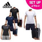 アディダス 半袖Tシャツ ハーフパンツ セット レディース D2Mトレーニング定番3ストライプ半袖Tシャツ + ジャージハーフパンツ EUD16 + EUA59 adidas
