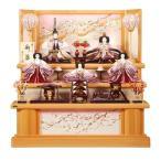 雛人形 5人三段飾り ひのき造りセット道長に桜屏風 sb-2-27