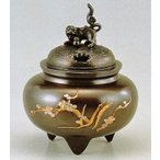 彫金の香炉/鉄鉢型獅子蓋香炉 高岡銅器の香炉/桐箱付