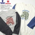 """WAREHOUSE(ウエアハウス) Lot.4800 7分袖ベースボール Tシャツ """"MEMBER H ・ N ・ W"""" ヒノヤなんばパークス店 1周年記念モデル 4800HN-17"""