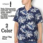 """Duke Kahanamoku (デューク カハナモク) コットン/レーヨン オープンシャツ  """"INDIGO SACRED GARDEN"""" DK37483"""