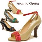 ショッピングエナメル エナメル 配色ベルト オープントゥ パンプス アンクルストラップAtomic Green アトミックグリーン