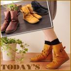 春ブーツ♪しっとり本革で履きやすいベルト付きショートブーツ レディース TODAY'S トゥデイズ