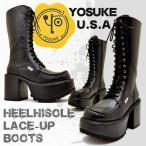 ショッピング厚底 厚底ブーツ レディース 編み上げブーツ ロング YOSUKE U.S.A ヨースケ  ※(予約)は3営業日内に発送