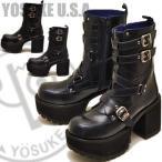 YOSUKE U.S.A ヨースケ メンズブーツ 厚底ブーツ ヒールブーツ ベルト付きブーツ スタッズ リングベルトブーツ ミドル丈 ハーフ