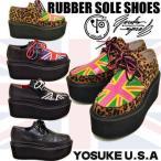 YOSUKE U.S.A ヨースケ ラバーソール シューズ 厚底靴 レディースラバーソール ジョーニコックスタイプ ユニオンジャック レディース靴