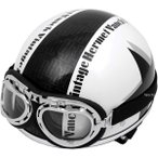 RH205 バンチ VANCH ヘルメット ビンテージ 白/黒 フリーサイズ(57-60cm)
