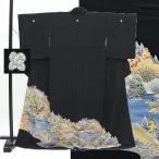 黒留袖 中古 リサイクル 正絹 五つ紋 京友禅 金駒刺繍 風景