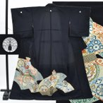 黒留袖 中古 リサイクル 化繊 五つ紋 比翼付き 金駒刺繍 地紙文様 壺文様 裄64cm