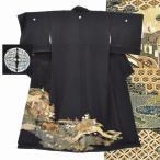 黒留袖 中古 リサイクル 正絹 五つ紋 比翼付き 特選 京友禅 金彩