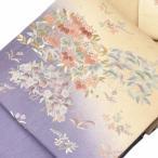 袋帯 リサイクル 中古 正絹 ふくろおび 相良刺繍 洒落袋 紫系 花文様
