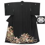リサイクル着物 黒留袖 中古 仕立て上がり 正絹 五つ紋 比翼付き 黒系 花・鶴文様 ll0723b