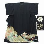 リサイクル着物 黒留袖 中古 仕立て上がり 正絹 五つ紋 比翼付き 黒系 花文様 ll0751b