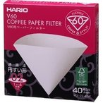 ハリオV60用ペーパーフィルター 円すい形02(2~4杯用)40枚入り VCF-02-40W コーヒー専門 通販 ランキング