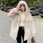 ファーコートロングレディース無地秋冬フェイクファーフート付きコートお洒落アウター暖かい毛皮防寒レディースファッションもこもこ