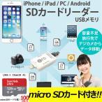 iPhone android SDカードリーダー USB メモリー Flash Device iPad 用 128GB microSDカード 付き!