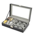 腕時計&メガネ 収納ボックス 高級感 ウォッチ コレクションケース 腕時計6本 メガネ3本 収納 PU製