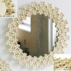 鏡 壁掛け ミラー ウォールミラー アンティーク 北欧 シャビー アイアン製 花のリース Lサイズ