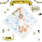 ベビー用 身長計付き湯上りタオル90×90cm サル柄ブルー 日本製 泉州タオル