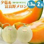 ショッピングフルーツ 夕張メロン 富良野メロン 食べ比べセット 1玉 1.3kg× 2玉 メロン お中元 果物