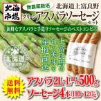 北海道 上富良野産 ハウスグリーンアスパラソーセージセット【2L〜Lサイズ混合】【無農薬栽培】