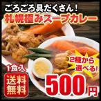 送料無料 3種から選べる 札幌極みスープカレー 1食 豚角煮・チキン・ホタテ 北海道 カレー レトルト 500円ポッキリ
