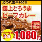 送料無料 新発売 極上とろうまビーフカレー 今だけ増量 3食入 カレー レトルト 北海道 八雲牛 メール便 ポッキリ