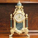 ショッピングイタリア イタリア製 置時計 ゴールドグリーン 真鍮 大理石 エレガント おしゃれ 高級家具 アンティークヨーロピアン