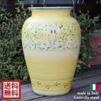 ショッピングイタリア イタリア製 陶器傘たて[イエロー×フィオーレ]花柄 かさ立て 風水 ハンドペイント