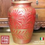 ショッピングイタリア イタリア製 陶器傘立て[レッド×ゴールド]大壺 赤 アンブレラスタンド イタリアン