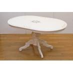 ショッピングイタリア イタリア製ダイニングテーブル 白家具<140cm幅・花柄ハンドペイント>(テーブル・食卓・ダイニングテーブル)楕円形/オーバル コーヒーテーブル社製
