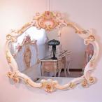 ロココ調 ミラー 鏡 天使の鏡 壁掛け  直輸入 姫家具 ロココ ヨーロピアン アンティーク プリンセス 白 白家具 クラシック 家具