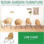 ラタン家具 椅子 ラウンジチェアー ローチェア カフェ風 ラタン×スチール