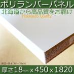 ポリランバーパネル ホワイト(木口テープ長辺一面貼付) 厚さ18mmx巾450mmx長さ1820mm(6.81kg)安心のフォースター 棚板 白  撥水  軽量