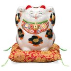 九谷焼 4.5号両手上げ招き猫 三毛AP4-1411