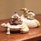 宮本直樹 九谷焼香炉ペアセット 福の神(恵比寿様)と亀&福の神(大黒様)と鶴