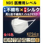 【送料無料】見た目KF94型不織布マスク シルクマスク KF94型 4層構造 ウィルス対策 小杉織物 1枚