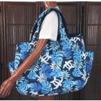 ハワイアン 雑貨 トートバッグ ハワイアン雑貨 フララニ 軽い 中綿 大トートバッグ 巾着タイプ(NVY-1) 202HU4BG009NVY-1