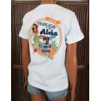 レディース 半袖 Tシャツ ハワイアン アロハメイド (レディース/ホワイト) ハワイアン雑貨 フララニ サーフブランド 雑貨 メール便対応可 202MA2ST056