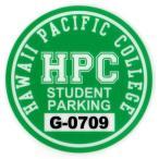 ハワイアン雑貨 ハワイ 雑貨 パーキング パーミット ステッカー(HAWAII PACIFIC COLLEGE) (メール便対応可) ハワイ 土産 お土産 おみやげ