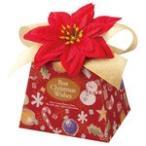 ハワイアン雑貨 造花ポインセチア付き クリスマス ギフトボックス (レッド)