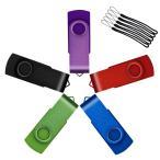 ストラップ穴付きUflatek 5個 USBメモリ256MB 低容量 USB 2.0フラッシュドライブ回転ミニタイプサムドライブ - 多色:紫 赤 青