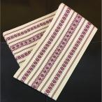 半巾帯 半幅帯 クリーム色地 エンジ色 日本製 日本製品 浴衣用 洗えるきもの用 ポリエステル100% 単衣 博多織 献上柄 調 ロングサイズ 約400cm