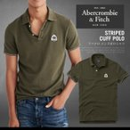 アバクロ ポロシャツ アバクロンビー&フィッチ Abercrombie&Fitch STRIPED CUFF POLO 半袖 ワッペン AM14022 大きいサイズ