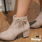 靴 ブーツ ショートブーツ レースアップ 防滑 太ヒール おしゃれ レディース 秋 冬 Honeys ハニーズ サイドレースアップブーツ