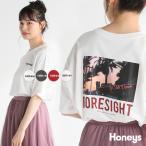 Tシャツ レディース 半袖 ゆったり ゆる フォトプリント ストリート こなれ 夏 Honeys ハニーズ フォトプリントTシャツ